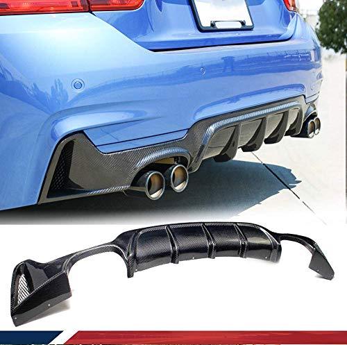 LY-QCYP Car Rear Diffuser,fits for BMW 4 Series F32 F33 F36 435i 420i 440i M-Sport 2-Door 2013-2017 Carbon Fiber Rear Bumper Lip CF Diffuser Spoiler(Quad Exhaust Twin Outlet)