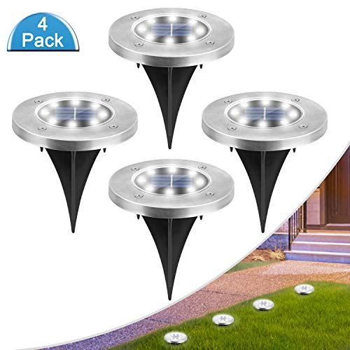 MOAOO Solar Ground Lights, 8 LED Solar Lights Outdoor Waterproof Solar Garden Lights Solar In-Ground Lights for Patio Lawn Pathway Yard Driveway, Cold White, 4 Pack