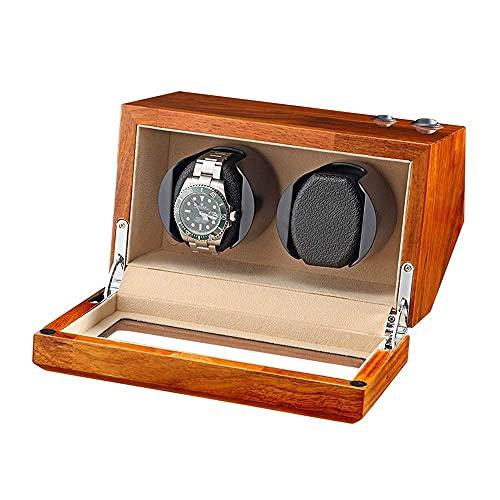 WBJLG Scatola avvolgitore Doppio Orologio in Legno massello Naturale per 2 Orologi Automatici Cuscino Flessibile per Orologio 5 modalità di Rotazione