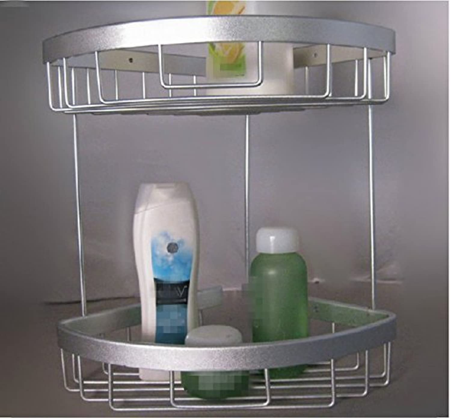 Bathroom shelf double space aluminum rack basket