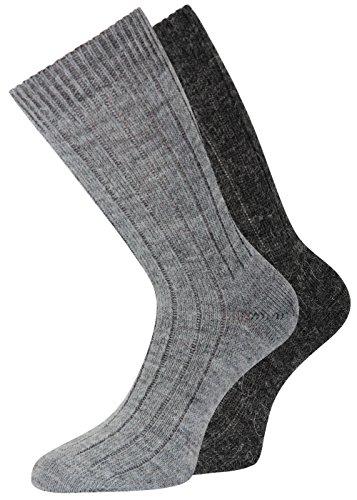 2 oder 4 Paar Alpakasocken dick weich soft mit Alpaka Wolle Socken in Naturfarben (43-46, Dünn Grau/Dunkelgrau)