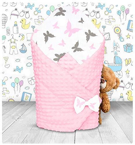 BABYMAM MINKY BABYHÖRNCHEN SCHLAFSACK BABYNEST BAUMWOLLE 80x80 VIELE MUSTER (Grau- Schmeterlinge rosa-grau)