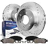 Detroit Axle - Drilled & Slotted FRONT Brake Kit Rotors Set & Brake Kit Pads w/Clips Hardware Kit for 2004-2008 Chevy Colorado/GMC Canyon - [2006-2008 Isuzu i-280,i-290,i-350,i-370]