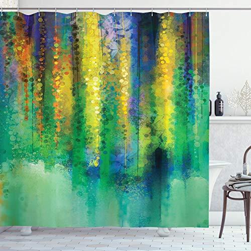 ABAKUHAUS Duschvorhang, Mehrfarbig Abstrakte Abbildung von Vielen Verschiedenen Blüten am Herbst Erblühen Druck Bunt, Blickdicht aus Stoff inkl. 12 Ringen Umweltfre&lich Waschbar, 175 X 200 cm