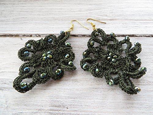 Pendientes de crochet verde, pendientes colgantes, pendientes largos, joyas de fiesta, joyas para mujer, joyas contemporaneas