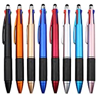 MiSiBao 4色ボールペン、中細 (1.0mm) ブラック、ブルー、レッド、グリーン。