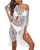 chuangminghangqi Traje de baño de mujer de punto de ganchillo vestido de playa cuello en V verano sexy vacio traje de baño cubre tallas grandes bikini Cover Up, Color blanco., Talla única