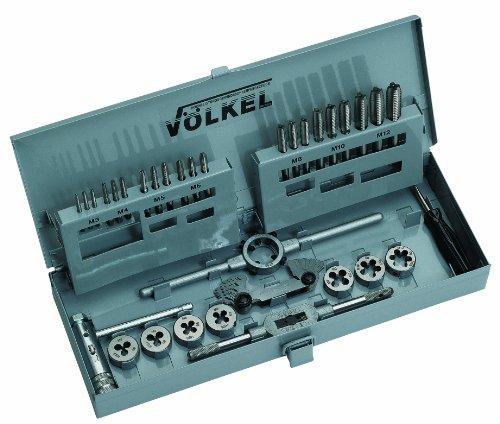 Volkel 49581 - Juego de machos y terrajas (3 a 12 mm, acero rápido)