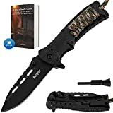 Pocket Knife - Tactical Folding Knife - Spring Assisted Knife with Fire Starter & Paracord Handle - Best EDC...