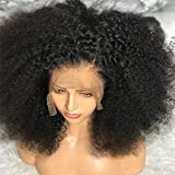 Kinky Curly Wig Human Hair Lace Front Wig 14 inch ,MSGEM 150% Density 13x4 Kinky Curly Lace Front Wigs Human Hair Pre Plucked