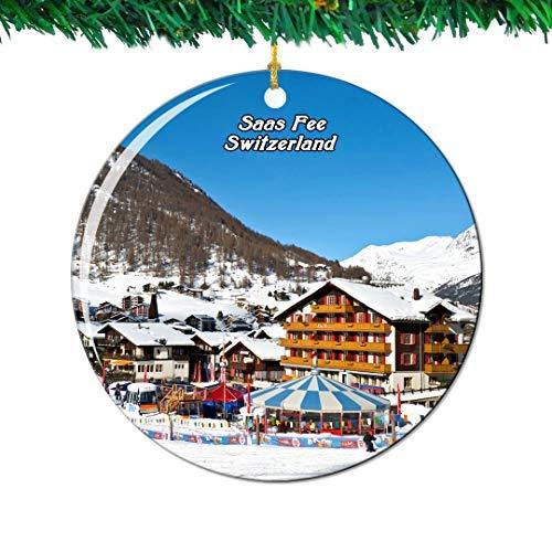 Kysd43Mill SAAS Fee Switzerland Swiss Ceramic Ornaments Christmas Tree Decorations Ornaments Keepsake for Women Girls Friends