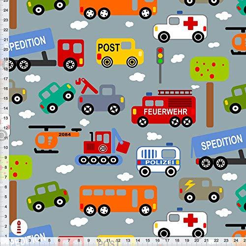 Stoff Kinderzimmer Junge Autos Feuerwehr Polizei aus Baumwollstoff - alle Farben möglich