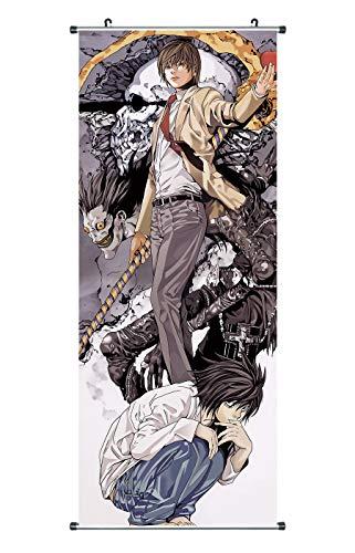 CosplayStudio Gran cuadro enrollable de Death Note | Kakemono de tela | Póster 100 x 40 cm | Diseño: L & Light Yagami