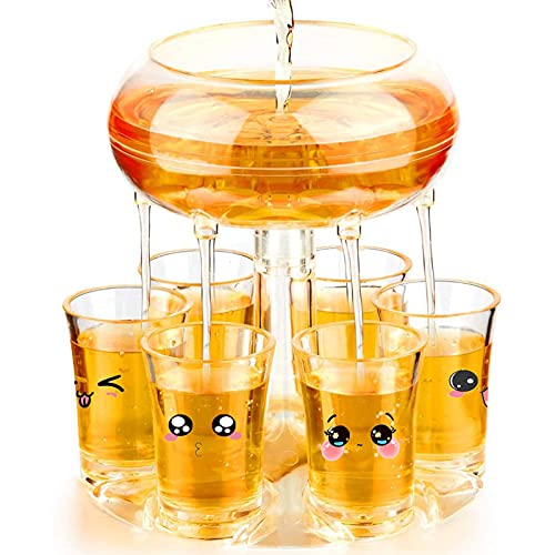 Shot Dispenser With 6 Glasses, Hakiuish 6 Shot Acrylic Glass Dispenser and Holder for Liquids, Drinks, Beverages and Cocktail for Drinking Games, Parties and Bars,Food Grade Material