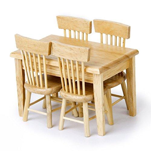 VORCOOL Miniatur-Esstisch / Stühle für Puppenhaus, Holzfarben, 5-teiliges Set