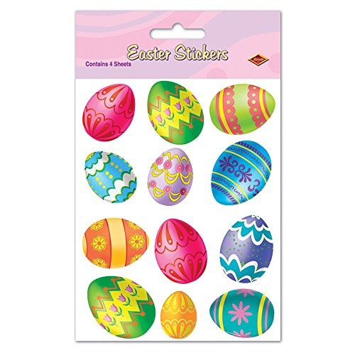Find Bargain Pack of 48 Vibrant Easter Egg Stickers Easter Party Favors 7.5