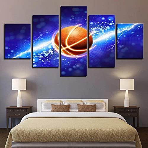SESHA 5 Piezas Lienzo Poster Cuadros Modernos Impresión De Imagen Artística Digitalizada Cartel De Deportes Creativos De Rayo De Baloncesto.