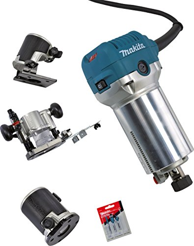 Makita Oberfräse plus Trimmer inklusive Fräserset, RT0700CX5J