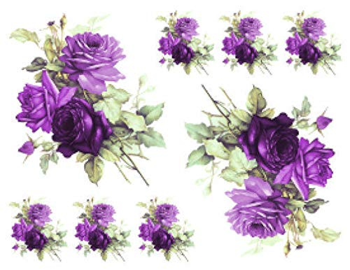 VERITS for Vintage Image Victorian Purple Cabbage Roses Furniture Transfer Decals FL495 Tole Decals & Transfers - Size is B - 2 Large, 6 Small