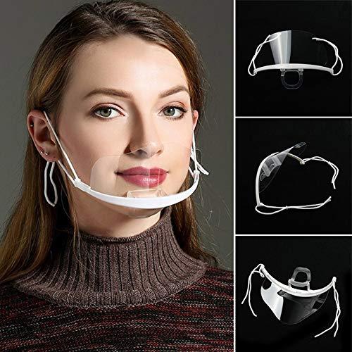 Tofree - Máscarilla de plástico reutilizable para higiene sanitaria, transparente y permanente, antivaho, máscara anti agua y comida para la boca
