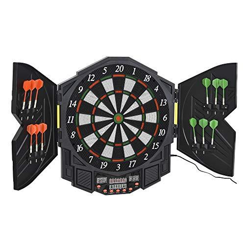 HOMCOM Elektronische Dartscheibe Dartboard mit Tür inkl. 4 LED 216 Spiele 12 Pfeile bis 8 Spieler ABS + PP 49 x 54,6 x 5,5 cm