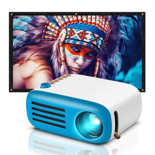GooDee Mini Projector, LED Pico Projector with 100 Inch Projector Screen, 4K HD 16: 9 Portable Video Widescreen Movies Screen for Home Theater
