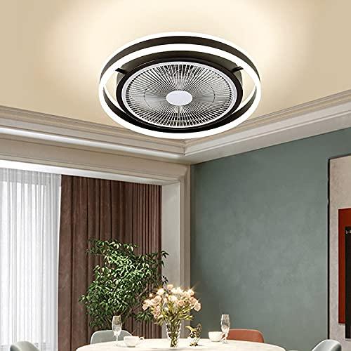 WRQING Deckenleuchte mit Ventilator Leise, Deckenventilatoren mit Beleuchtung und Fernbedienung 6 Ventilatorflügel aus ABS, 36W LED Fan Licht (Color : Black)