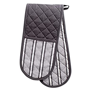 DII Cotton Stripe Quilted Double Oven Mitt, 35 x 7.5 , Machine Washable and Heat Resistant Kitchen Moppine for Everyday Cooking and Baking-Mineral Gray