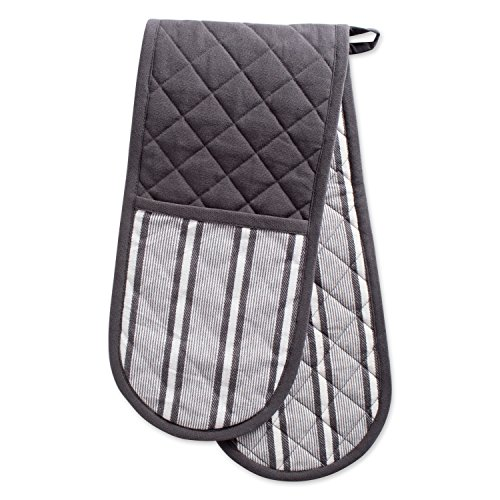 "DII CAMZ38392 Cotton Stripe Quilted Double Oven Mitt, 35 x 7.5"", Machine Washable and Heat Resistant Kitchen Moppine for Everyday Cooking and Baking-Mineral Gray"