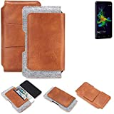 K-S-Trade® Schutz Hülle Für Allview P8 Energy Mini Gürteltasche Gürtel Tasche Schutzhülle Handy Smartphone Tasche Handyhülle PU + Filz, Braun (1x)