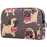 Bolsa de cosméticos de viaje grande para mujer, diseño de cachorro de carlino con muchos bolsillos
