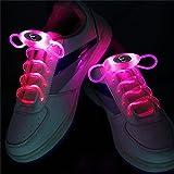 En Luz de Navidad Neón luminoso cordones 1PCS 2Watts Rosa de zapatos 1 par 80cm resplandor de los cordones del deporte LED parpadeante cordones del palillo del resplandor
