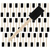 US Art Supply 1 inch Foam Sponge Wood Handle Paint Brush Set (Super Value Pack of 50) - Li...