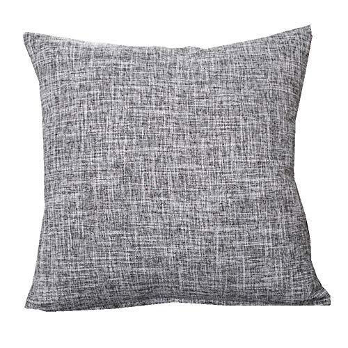 MF 50x50cm Solid Color Cotton Linen Decorative Pillowcase Cushion Cover for Sofa Throw Pillow Case (Gray)