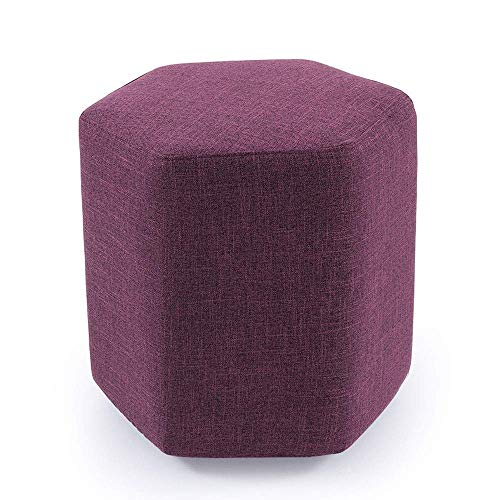 WRISCG Sgabello Esagonale Moderno Semplice Sgabello Creativo di Moda Salotto in Tessuto Lavabile Panca Poggiapiedi Panca per Scarpe Lavabile Multifunzionale (Colore: Fucsia)