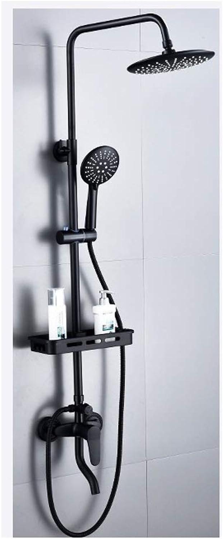 Dusche Wasserhahn ZQG Wandmontage-Duscharmatur-Set, Vintage Messing-Duschsystem mit Regenmischer-Duschset, Messing antik, schwarz lackiert (Größe   D)