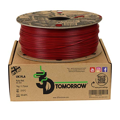 3DTomorrow UK PLA Filament - Ruby Red - 1.75mm, 1kg, 100% Recyclable Cardboard Spool Eco Friendly 3D Printer Filament, Made in the UK