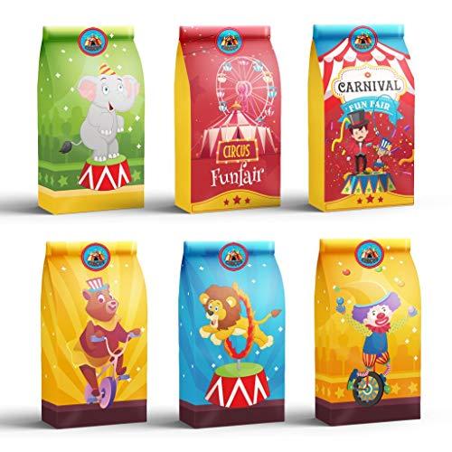 DreamJing Lot de 24 Sac en Papier Kraft sur Le Thème du Cirque - Sac Cadeau Invitation Anniversaire