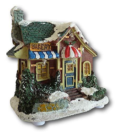 UrbanDesign 3D Weihnachtshaus LED beleuchtet Weihnachtsszene Szenerie Weihnachten Lichthaus Winter Dekoration Deko Fenster Tisch (Modell Bakery)