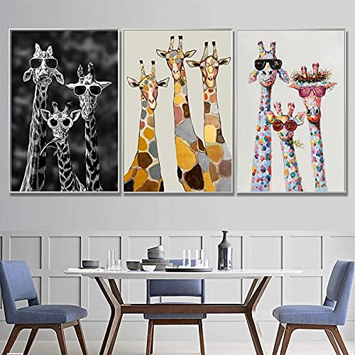 Crazystore Pintura de la Lona 3 Piezas 60x80cm sin Marco Animal Divertido Pintura de la Lona Color Jirafa con Gafas impresión de Carteles Arte de la Pared habitación de los niños decoración del hogar