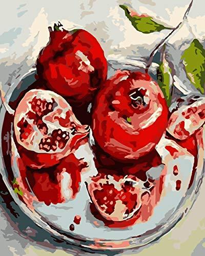 BVFDBGR Pintar por Números Adultos,Granada 40×50 Cm DIY Lienzo Pintura al Óleo Kit para Principiantes Niños con Pinceles y Pinturas Dibujos por Numeros,para Decoración del Hogar,