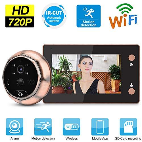 Draadloze WiFi video deurbel, digitaal kijkgaatje 4,3 inch LCD scherm + 720P HD camera + PIR bewegingsdetectie + IR nachtzicht + APP bediening
