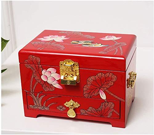 JISHIYU - Q Joyero antiguo joyero de madera oriental con espejo de laca roja pintado a mano regalo para familiares amigos cajas de joyería decorativas (color: B)