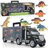 ORTUH Cochecito de dinosaurio camión juguete con 6 pequeñas figuras de dinosaurio para niños
