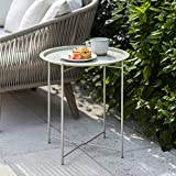 CKB LTD STEEL OUTDOOR BISTRO TRAY TABLE Foldable Rod Legs And Removable Tray Top Matt Charcoal Powder Coated Steel – Single Garden Furniture Table (Clay)