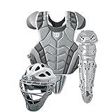Wilson C1K Intermediate Catcher's Gear Kit, Silver/White