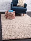 Unique Loom Solo Solid Shag Collection Modern Plush Taupe Area Rug (10' x 13')