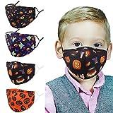 Genovega Washable Reusable Kids Face Mask Adjustable Ear Loops, Halloween Pumpkin Breathable Cloth Cotton Covering Fabric Cute Designer Madks Facemask for Girl Boy Children