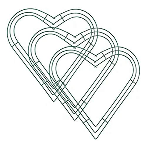 Exanko 3 Pack Heart Metal Wreath 12 Inch Heart-Shaped Wire Wreath Frame for Home Wedding Valentine's Day DIY Crafts