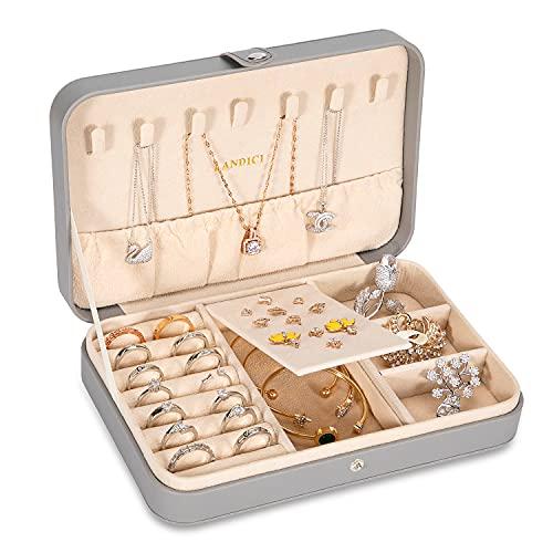 Landici ジュエリーボックス PUレザージュエリーケース 指輪置き単層ジュエリー収納ケース 取り外し可能 仕切り付き宝石箱 ネックレス イヤリング ピアス ブレスレットなど小物入れアクセサリーケース 女性 レディース 女の子用(グレー)